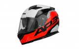 Full face helmet APEX CONTRAST red fluo/ black/ white/ grey XS